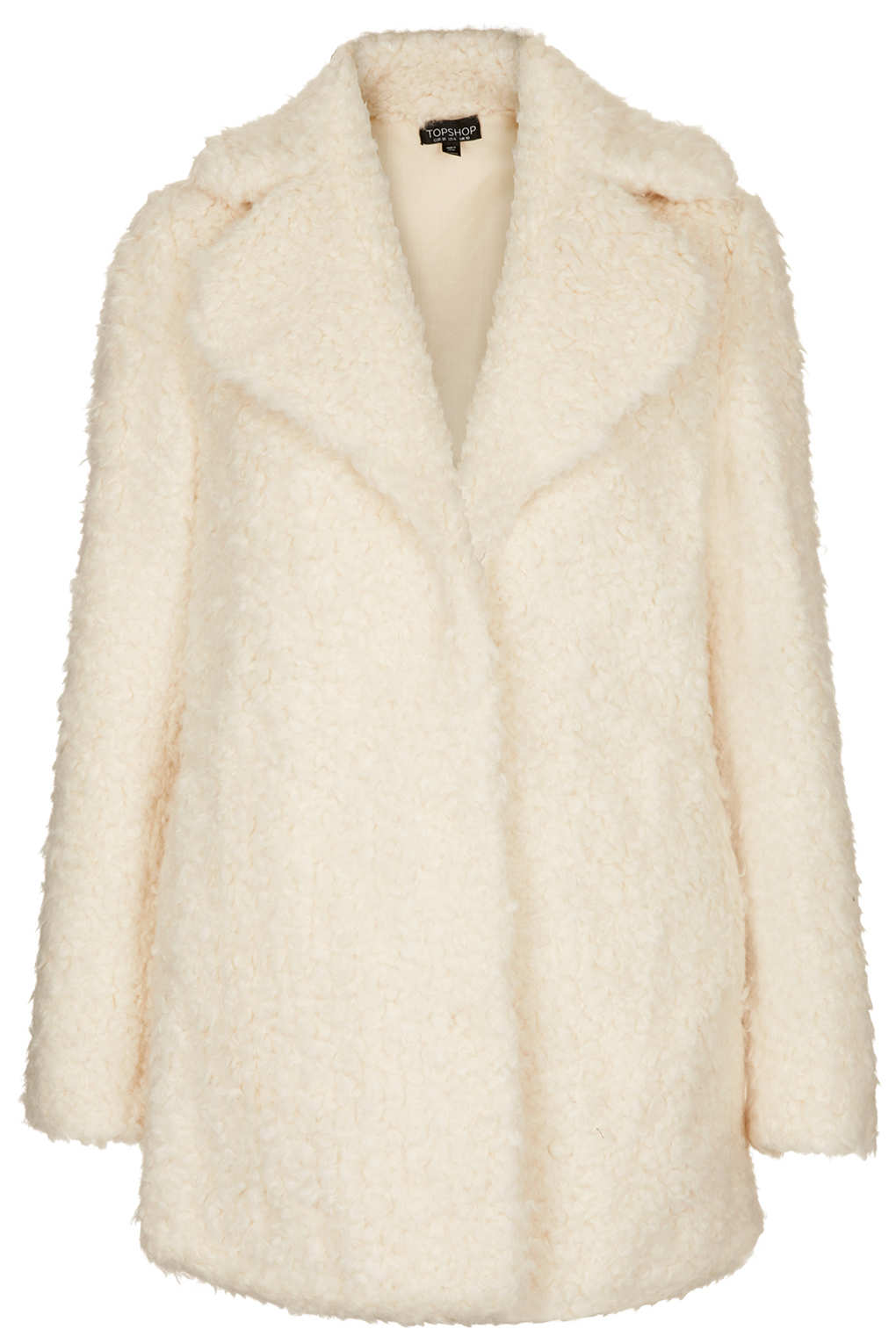 topshop teddy fur pea coat in white lyst. Black Bedroom Furniture Sets. Home Design Ideas
