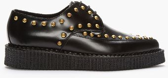 Underground Black Studded Leather Pointed Barfly Creepers - Lyst