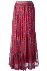 Yves Saint Laurent Vintage Multi Print Tiered Skirt - Lyst