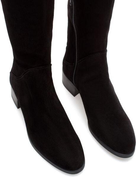 zara suede flat boot in black lyst