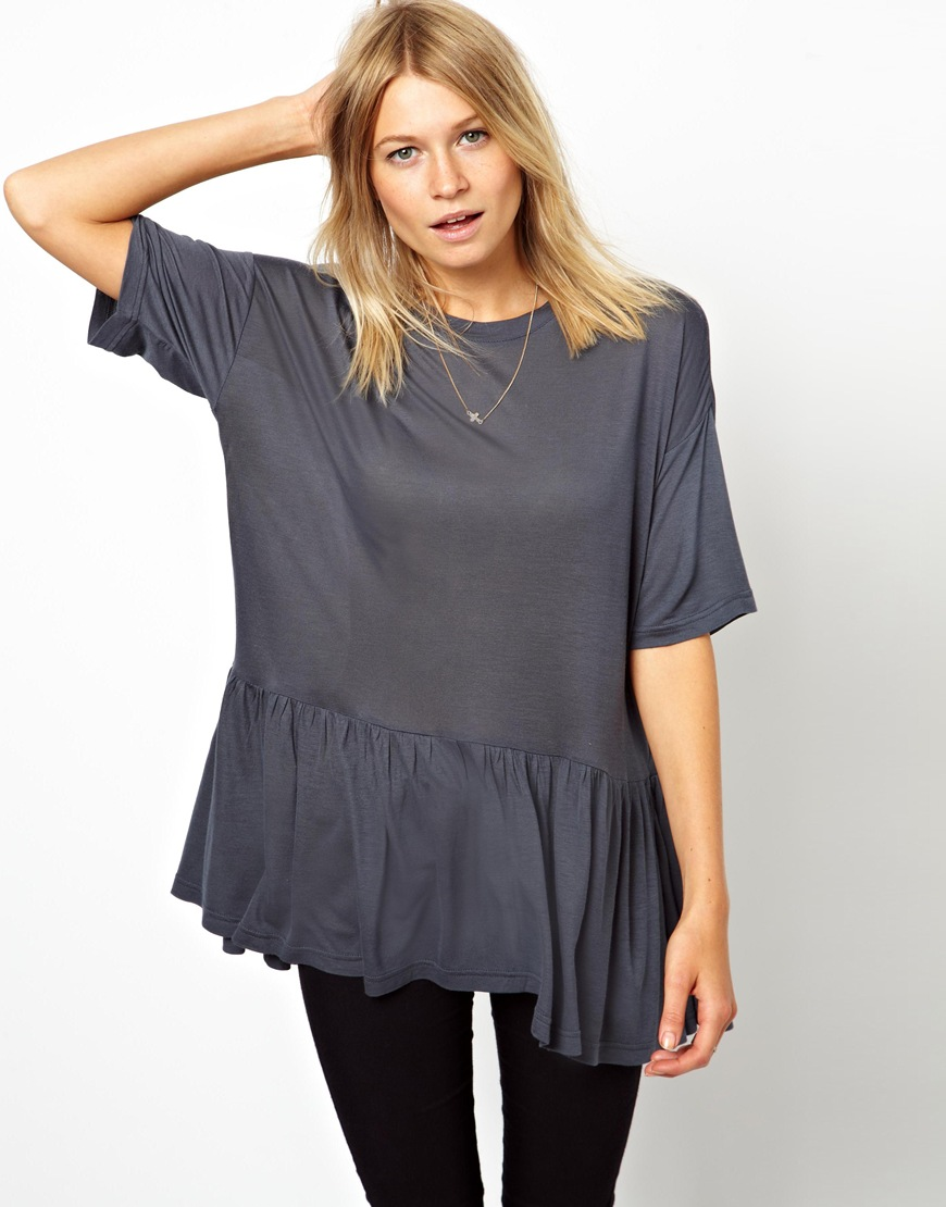 Asos T Shirt In Oversize With Peplum In Gray Lyst