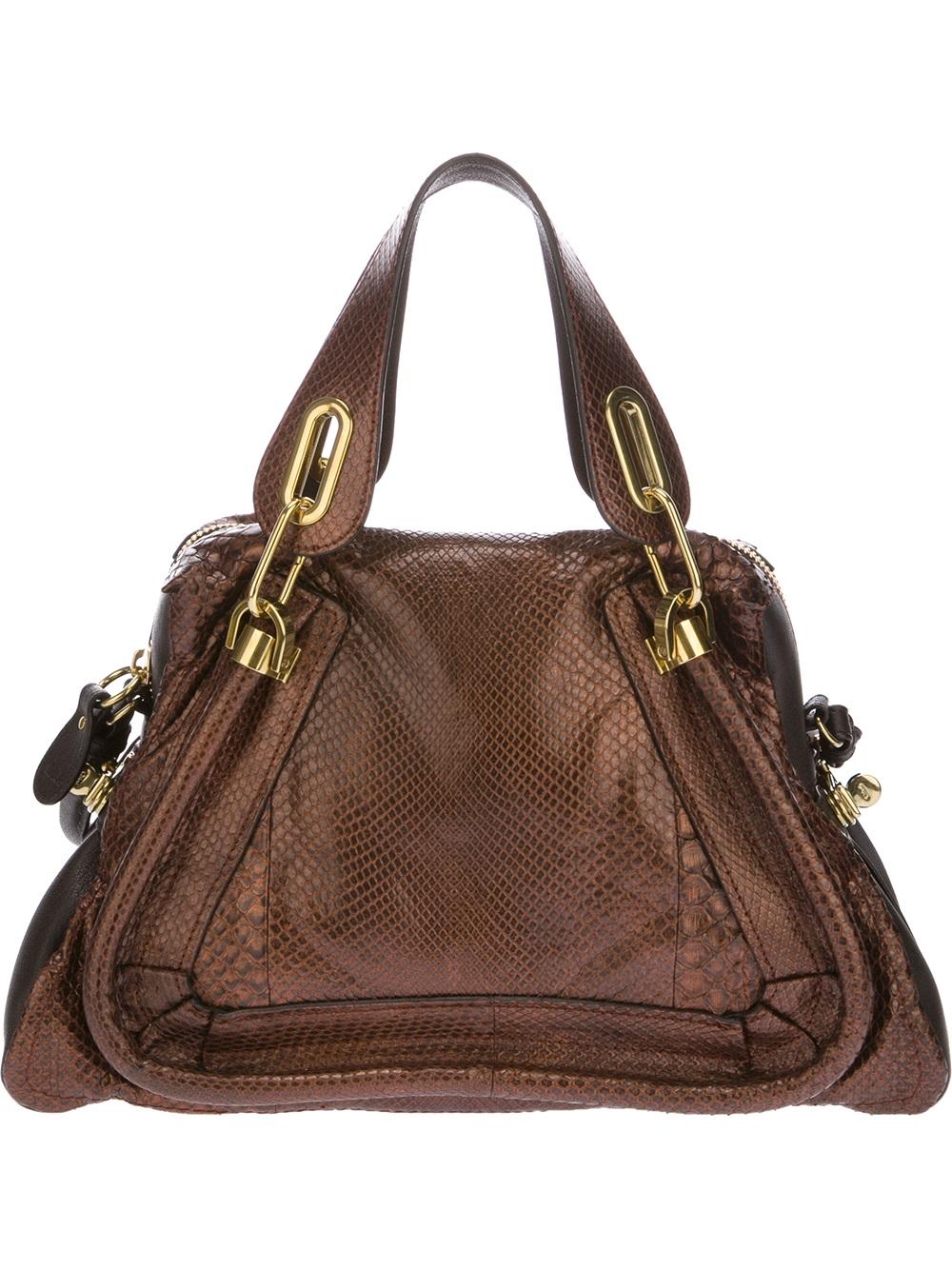 Chlo¨¦ Paraty Python Skin Shoulder Bag in Brown | Lyst
