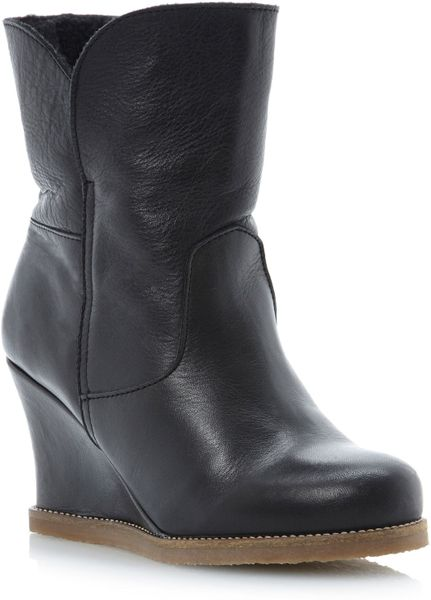 dune panfaux fur crepe sole wedge ankle boots in black
