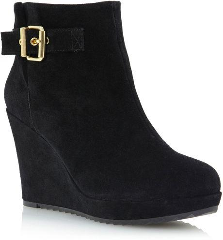 dune peet side buckle wedge boots in black black suede