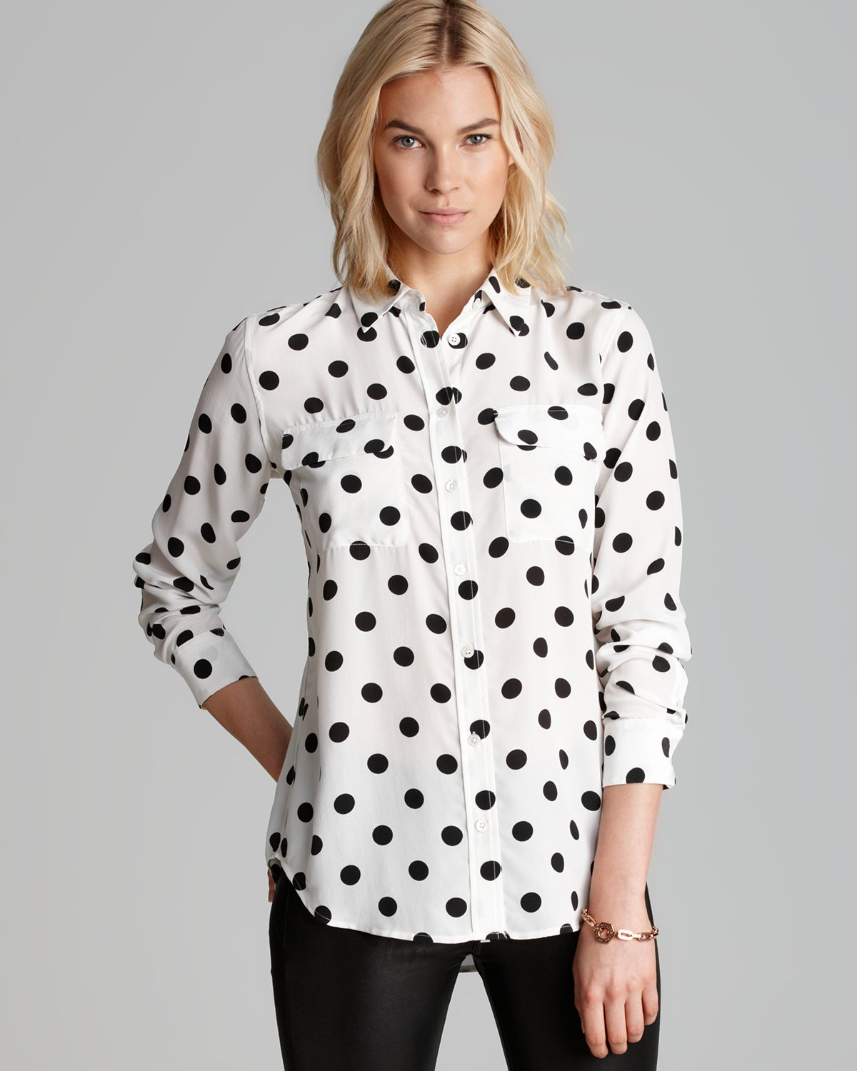 a6f1231e566605 Lyst - Equipment Shirt Slim Signature Modern Dot in White