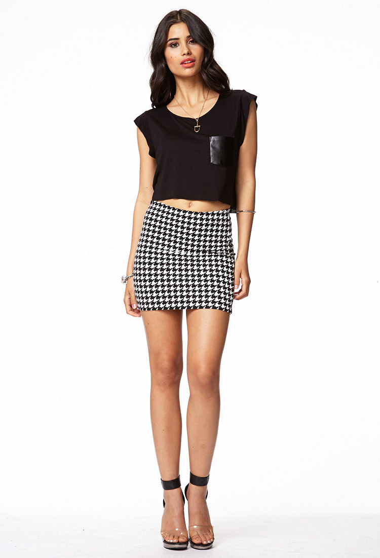 9df9a618 Forever 21 Throwback Houndstooth Bodycon Skirt in White - Lyst