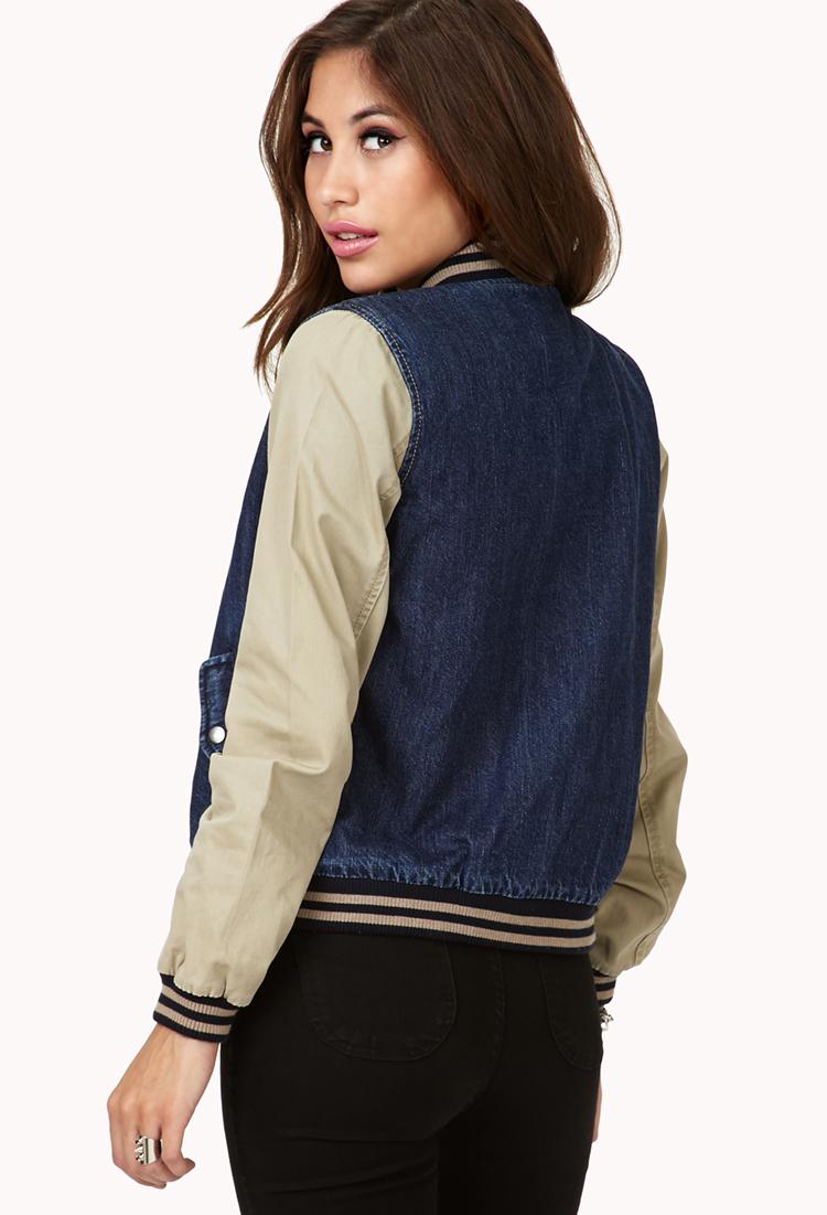 Lyst Forever 21 Denim Varsity Jacket In Blue