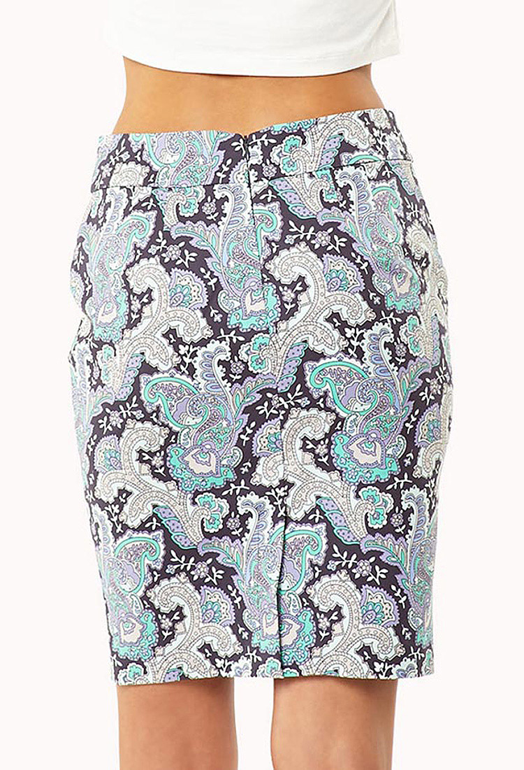 forever 21 essential paisley pencil skirt in gray lyst