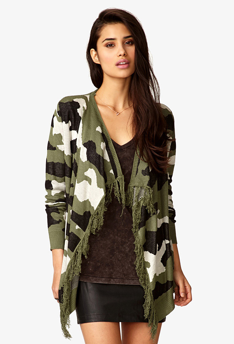 Lyst Forever 21 Fringed Camo Cardigan In Green