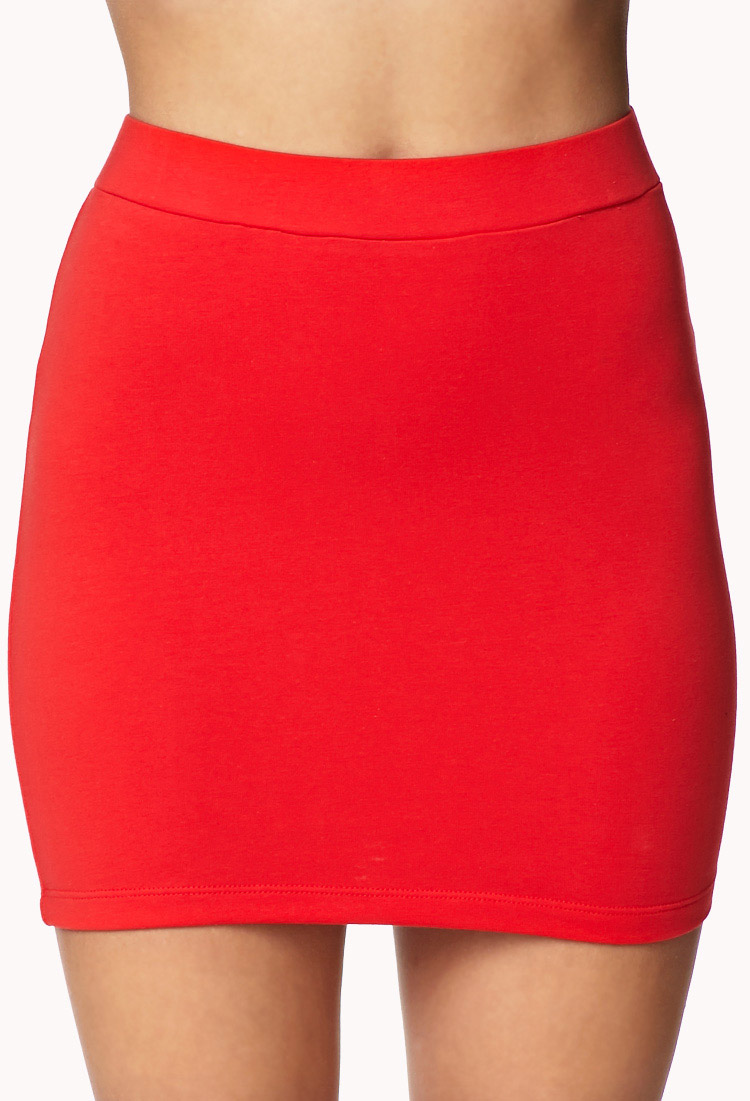 Forever 21 Basic Mini Skirt in Red | Lyst