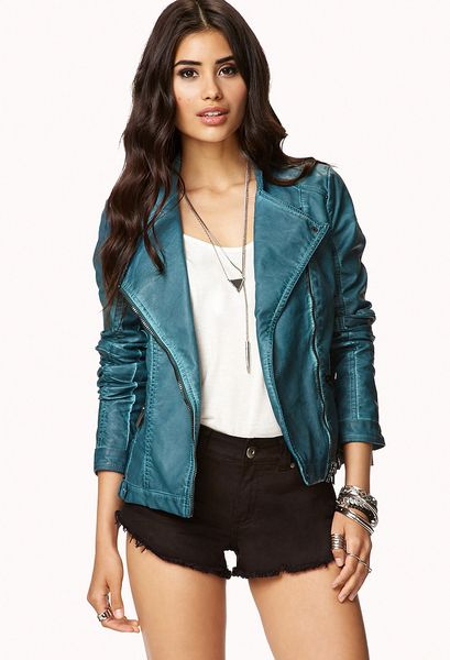 Forever 21 Faux Leather Moto Jacket in Blue (TEAL)