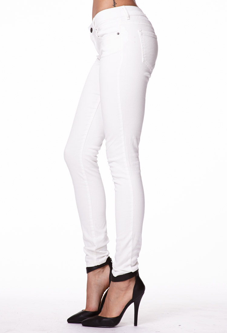 Forever 21 Soft Skinny Jeans in White   Lyst
