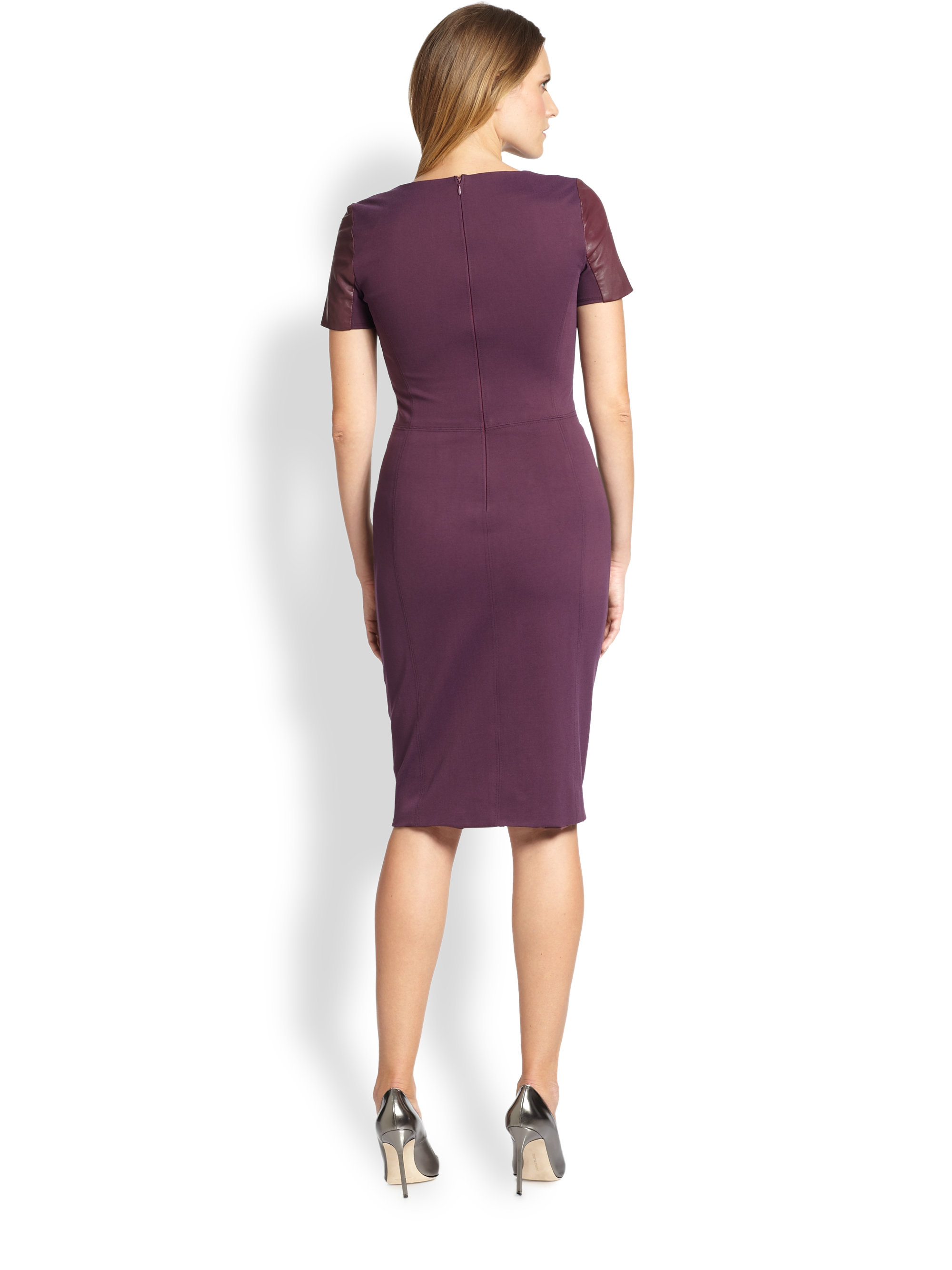 c8a416e722ea Lyst - Halston Leather Ponte Knit Dress in Red