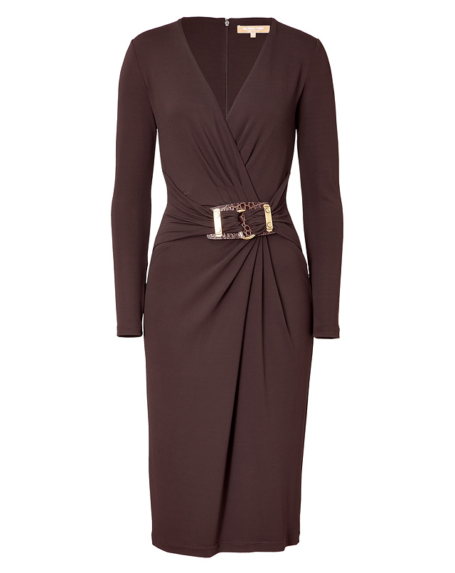 michael kors chocolate belted dress in brown chocolate