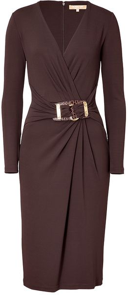 Michael Kors Chocolate Belted Dress - Lyst