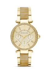 Michael Kors Minisize Horn Acetate and Gold Tone Parker Chronograph Glitz Watch 33mm - Lyst