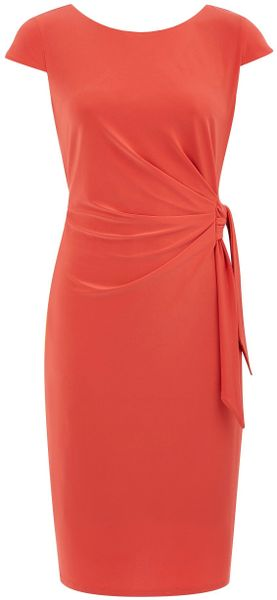 Minuet Petite Pumpkin Side Tie Jersey Dress In Orange Lyst