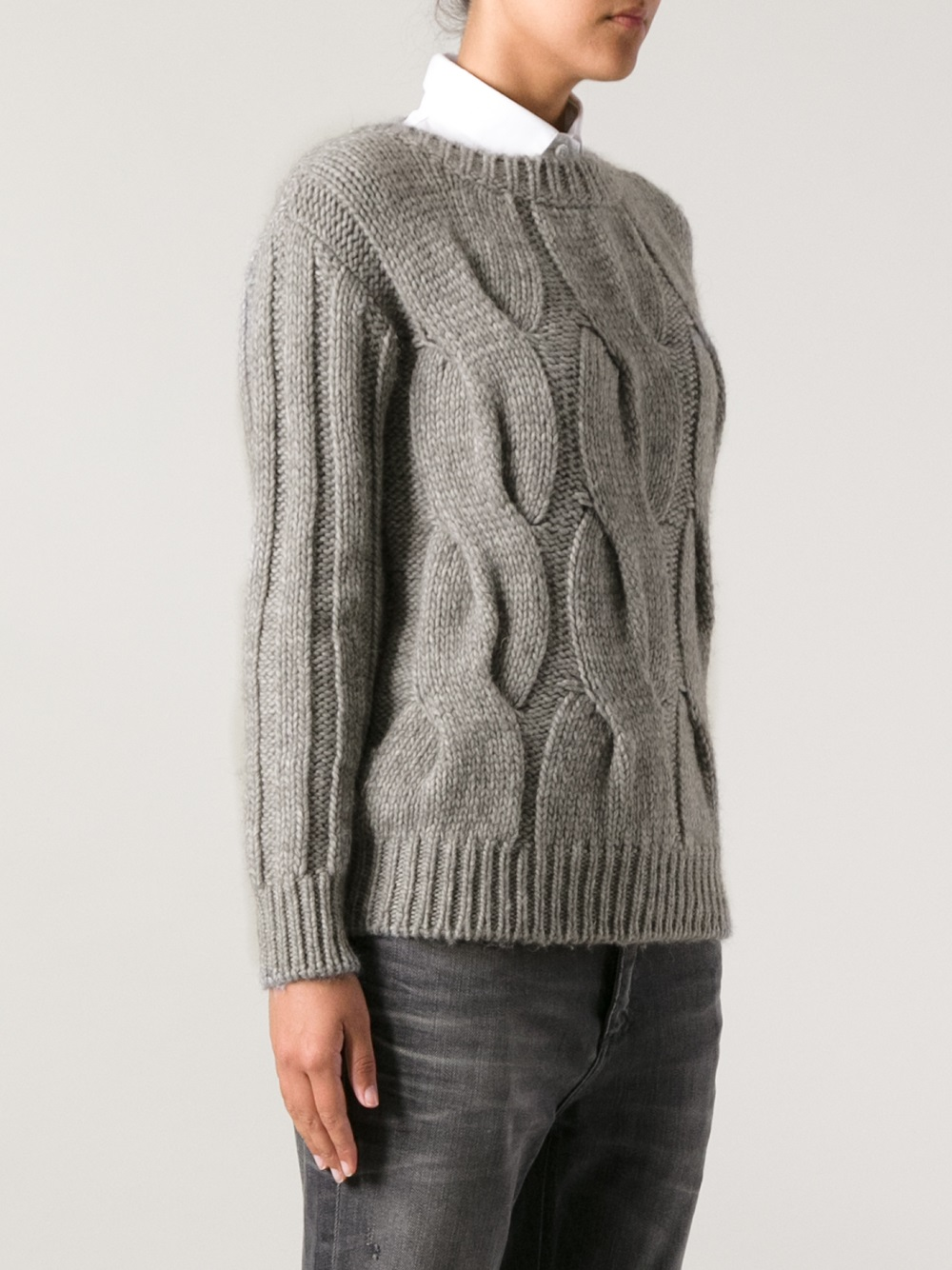 de4ae3f1127b Lyst - Moncler Grenoble Chunky Cable Knit Sweater in Gray