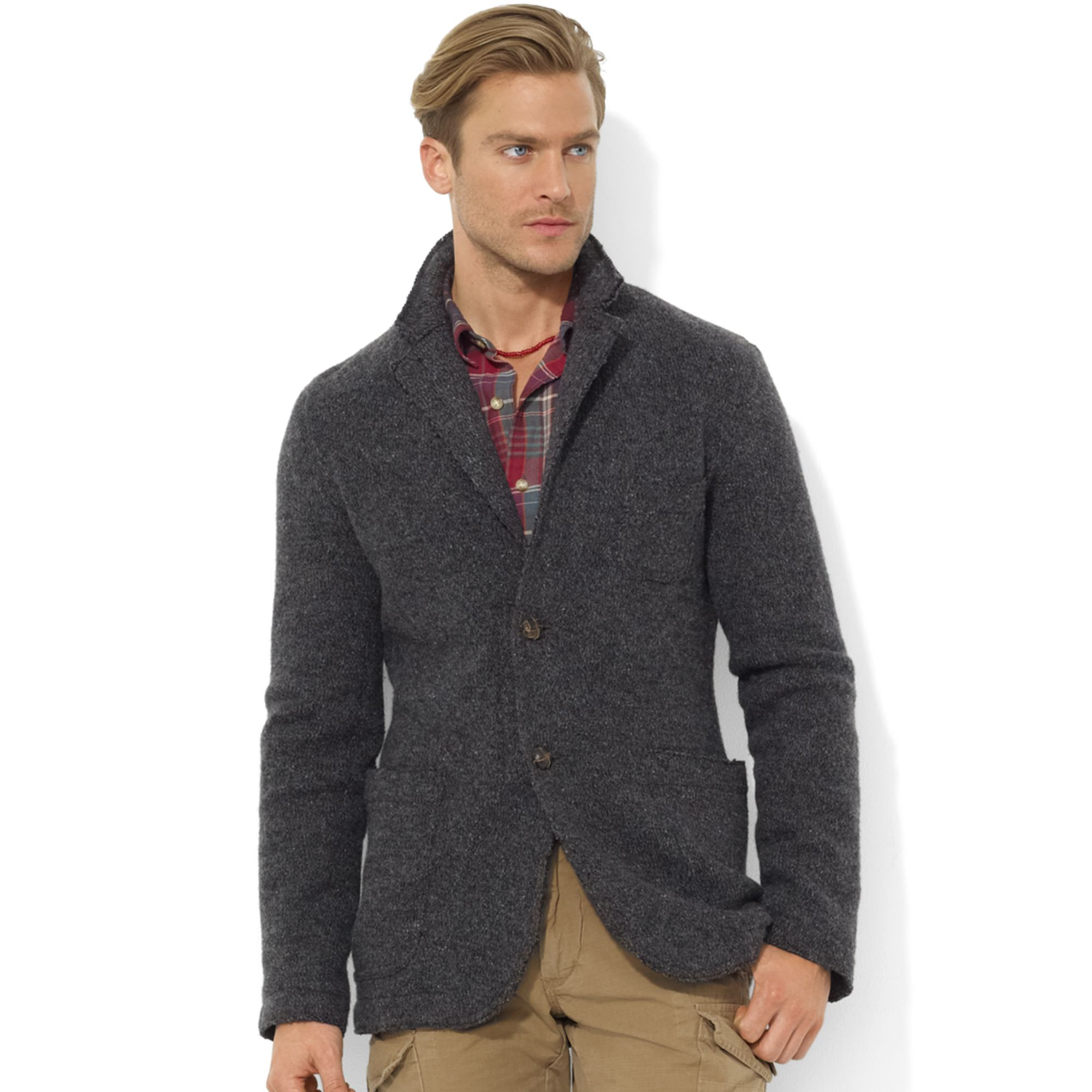 Ralph lauren Two button Marled Wool Blazer in Gray for Men | Lyst