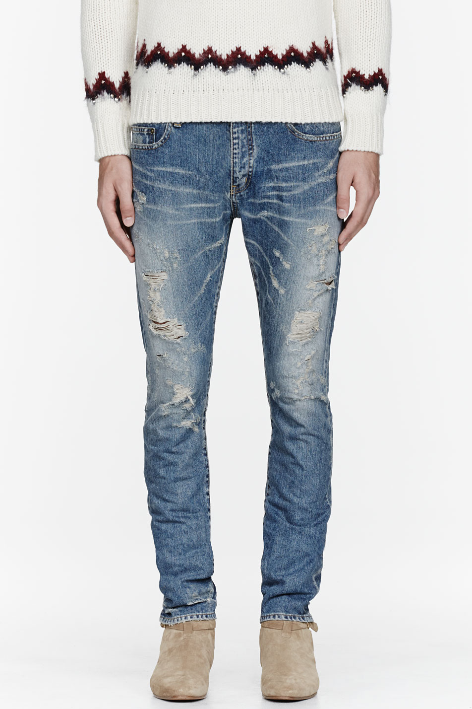 saint laurent light blue destroyed jeans in blue for men. Black Bedroom Furniture Sets. Home Design Ideas