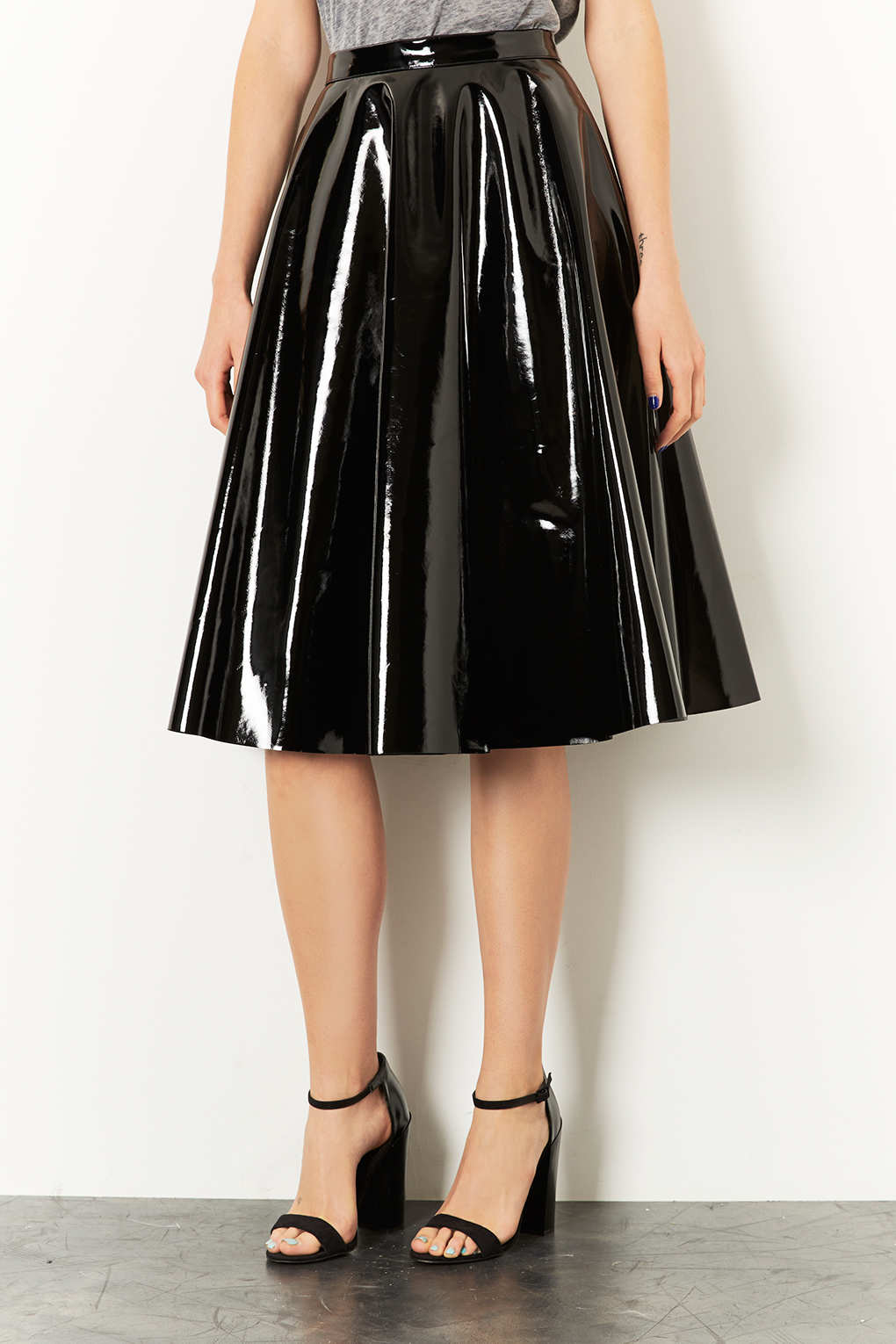 Lyst Topshop Vinyl Calf Skater Skirt In Black