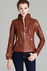 Via Spiga Collared Front Zip Leather Jacket - Lyst