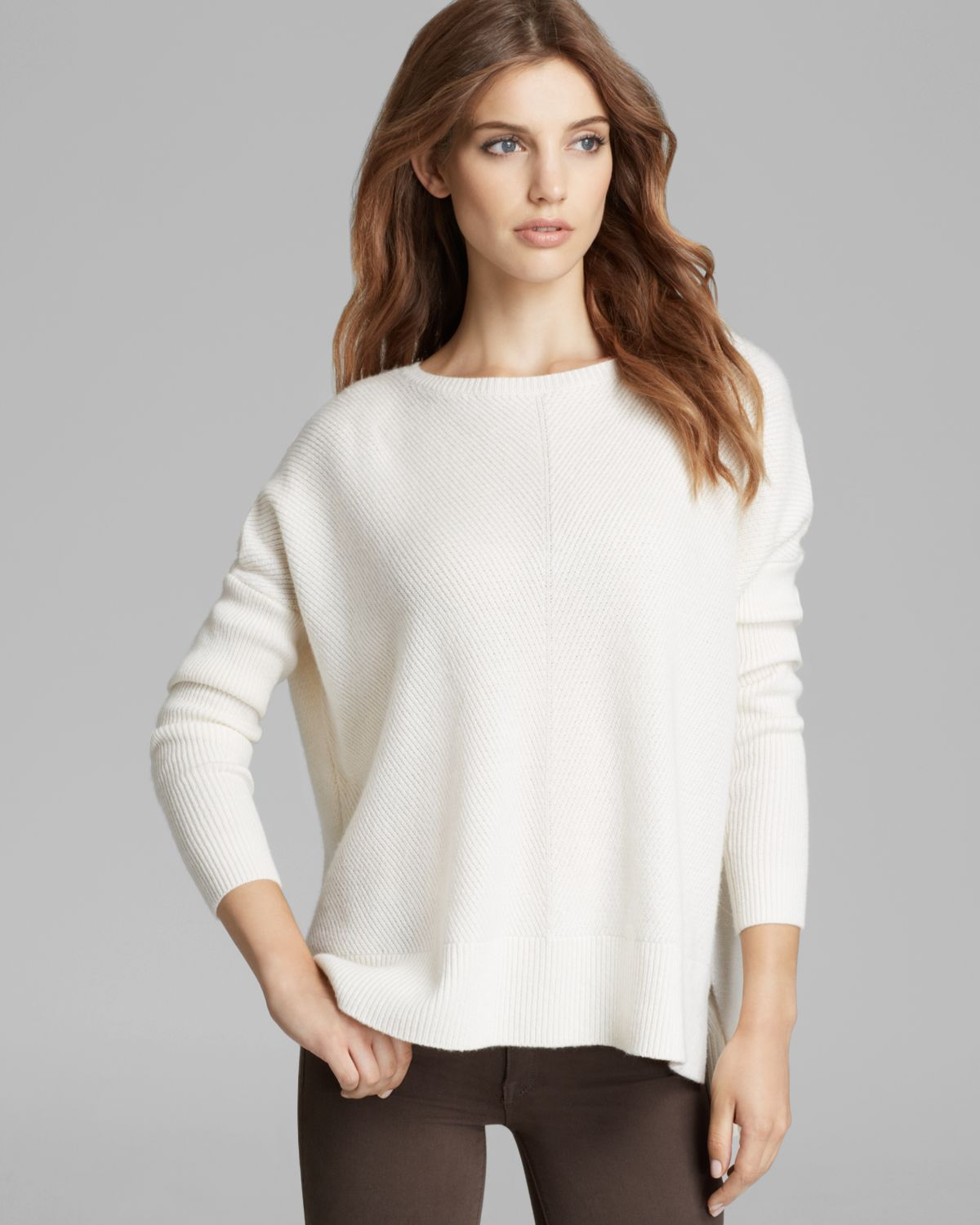 Vince Sweater Chevron Woolcashmere in White | Lyst