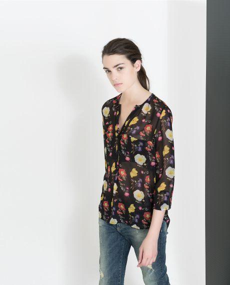 Zara floral print shirt with pocket in floral black lyst for Zara mens floral shirt