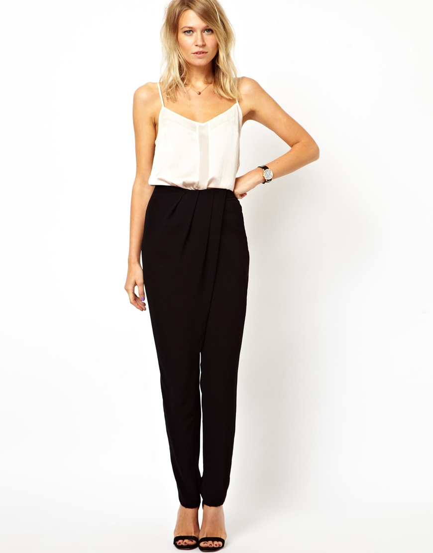 Asos Asos Pants with High Waist and Soft Pleats in Black | Lyst