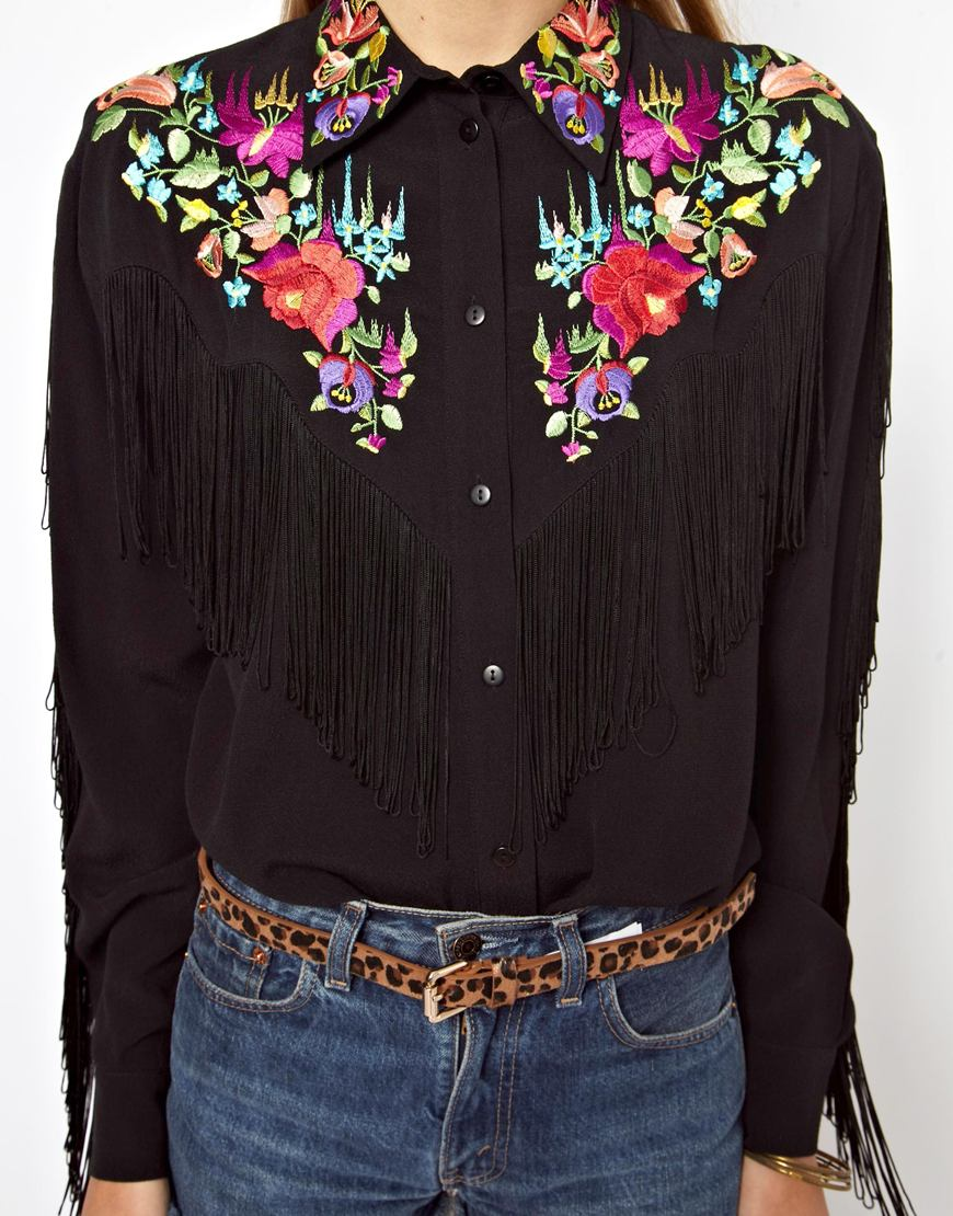 ca8f17465992d Lyst - ASOS Asos Premium Shirt with Bright Folk Embroidery and Fringed Yoke  in Black