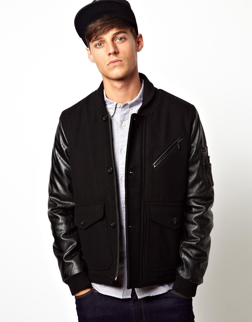 Humor Asos Wool Jacket with Faux Leather Sleeves in Black for Men
