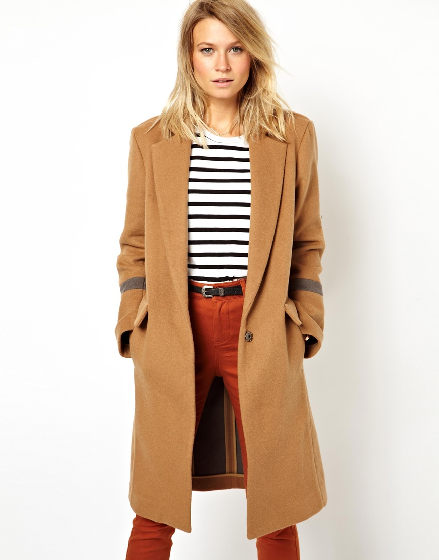 Asos Asos Knee Length Over Coat in Natural | Lyst