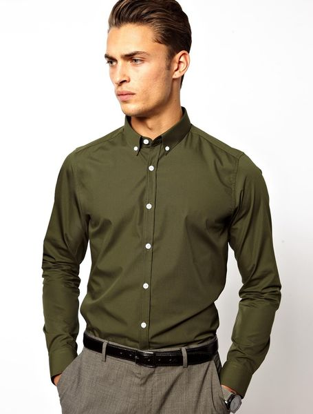 Asos Asos Smart Shirt With Button Down Collar In Green For