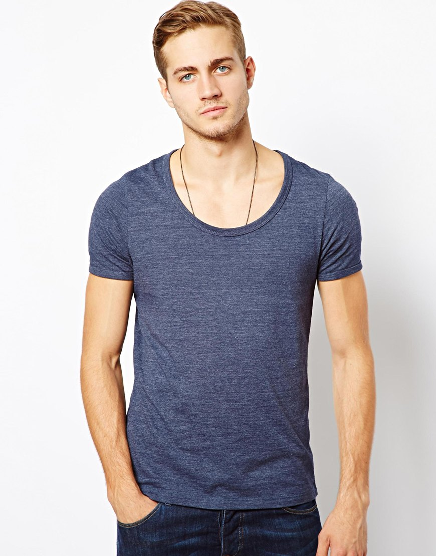 Asos t shirt with bound scoop neck in blue for men lyst for Scoop neck t shirt