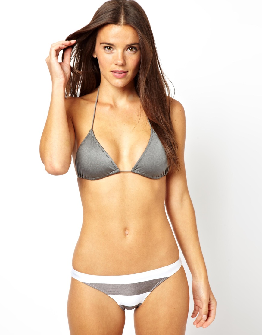 3172ef3efaf ASOS Asos Mix and Match Micro Brazilian Triangle Bikini Top in Gray ...