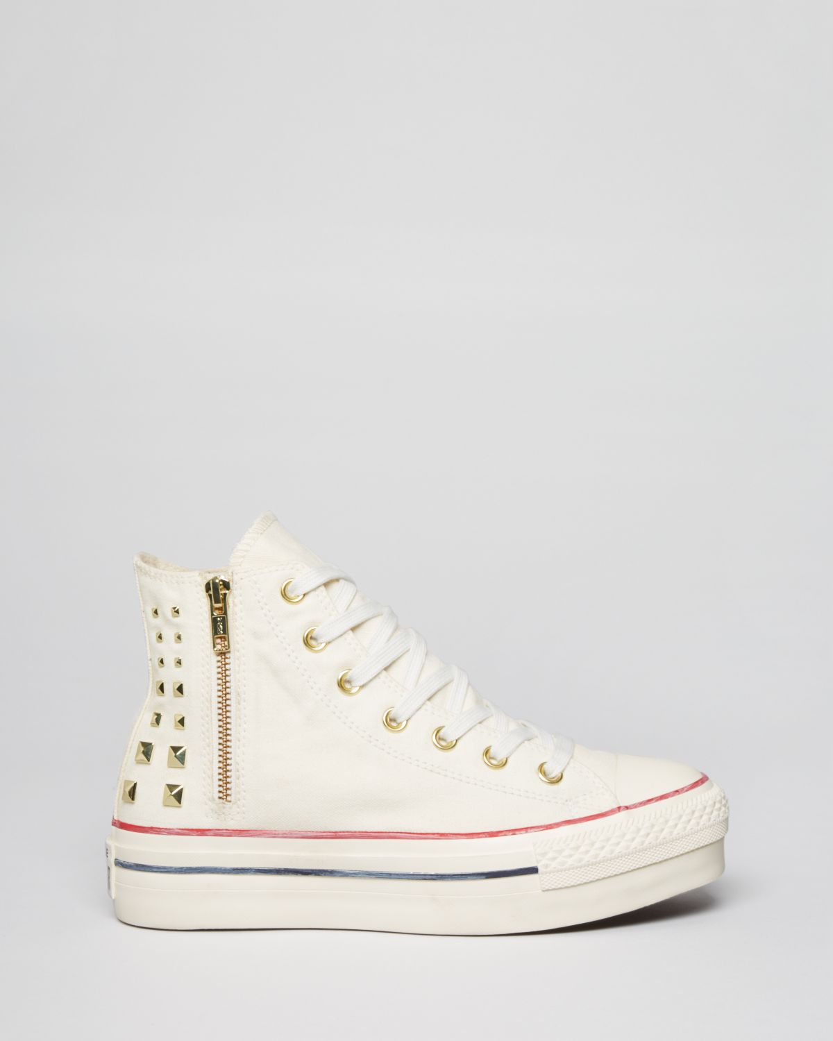 e79296bff776 Converse Lace Up High Top Platform Sneakers All Star Collar Studs in ...