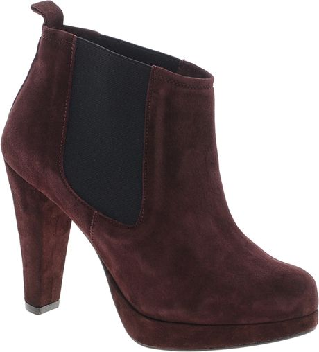 ganni fiona suede heeled chelsea boot in brown