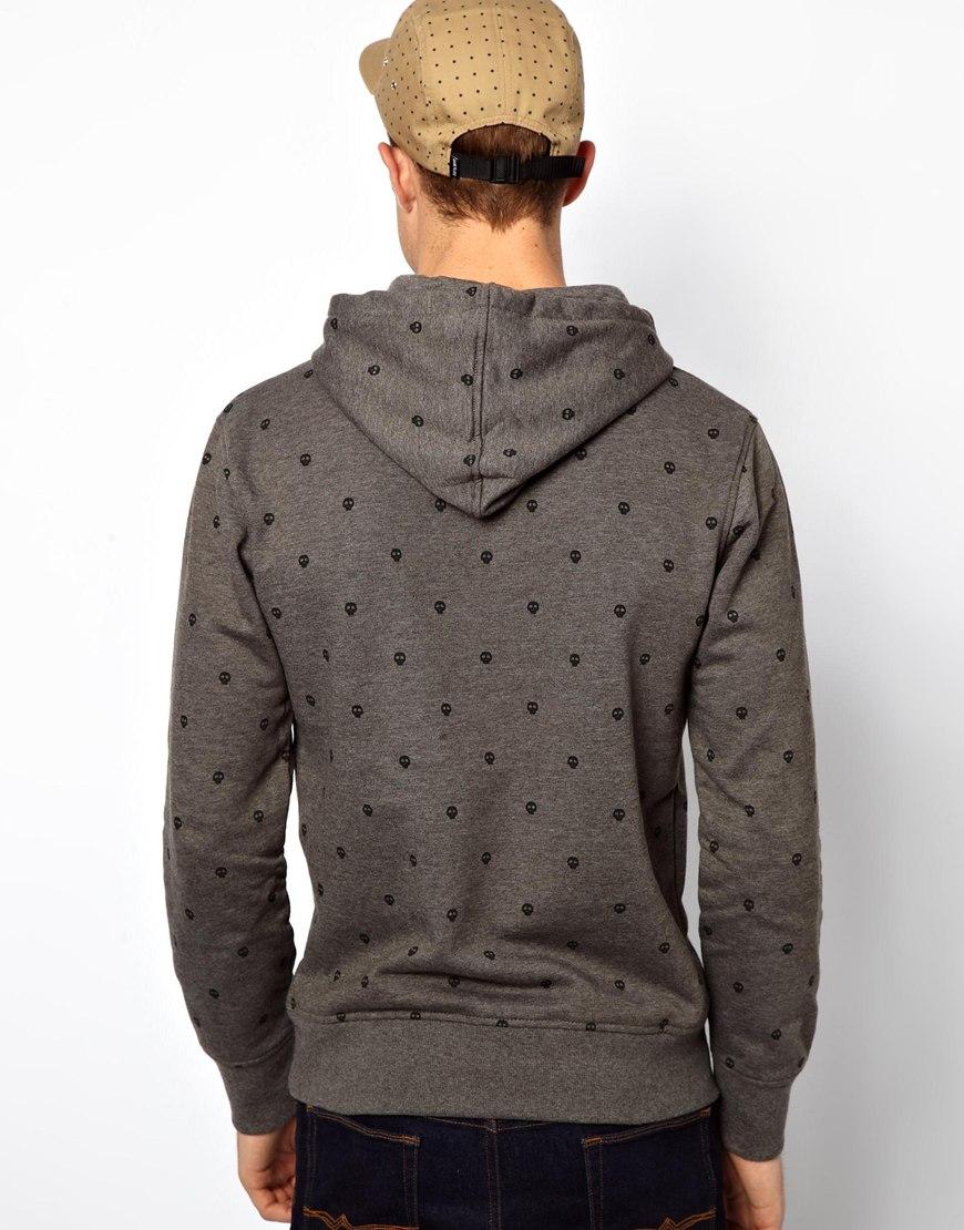 fred perry jack jones hoodie with mini skull print in gray. Black Bedroom Furniture Sets. Home Design Ideas