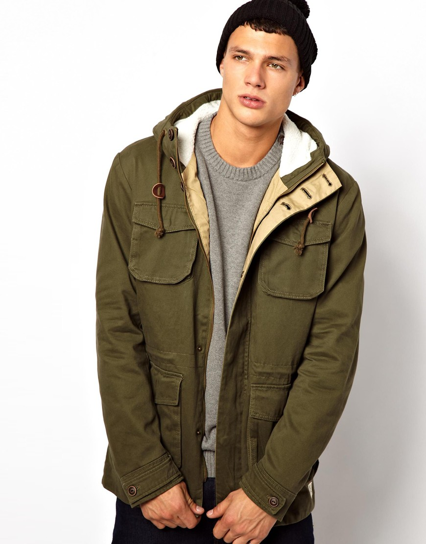 Khaki borg lined parka coat mens