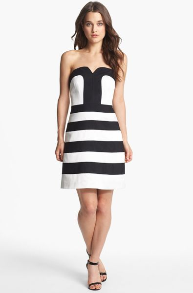 Laundry By Shelli Segal Stripe Strapless Fit Flare Dress