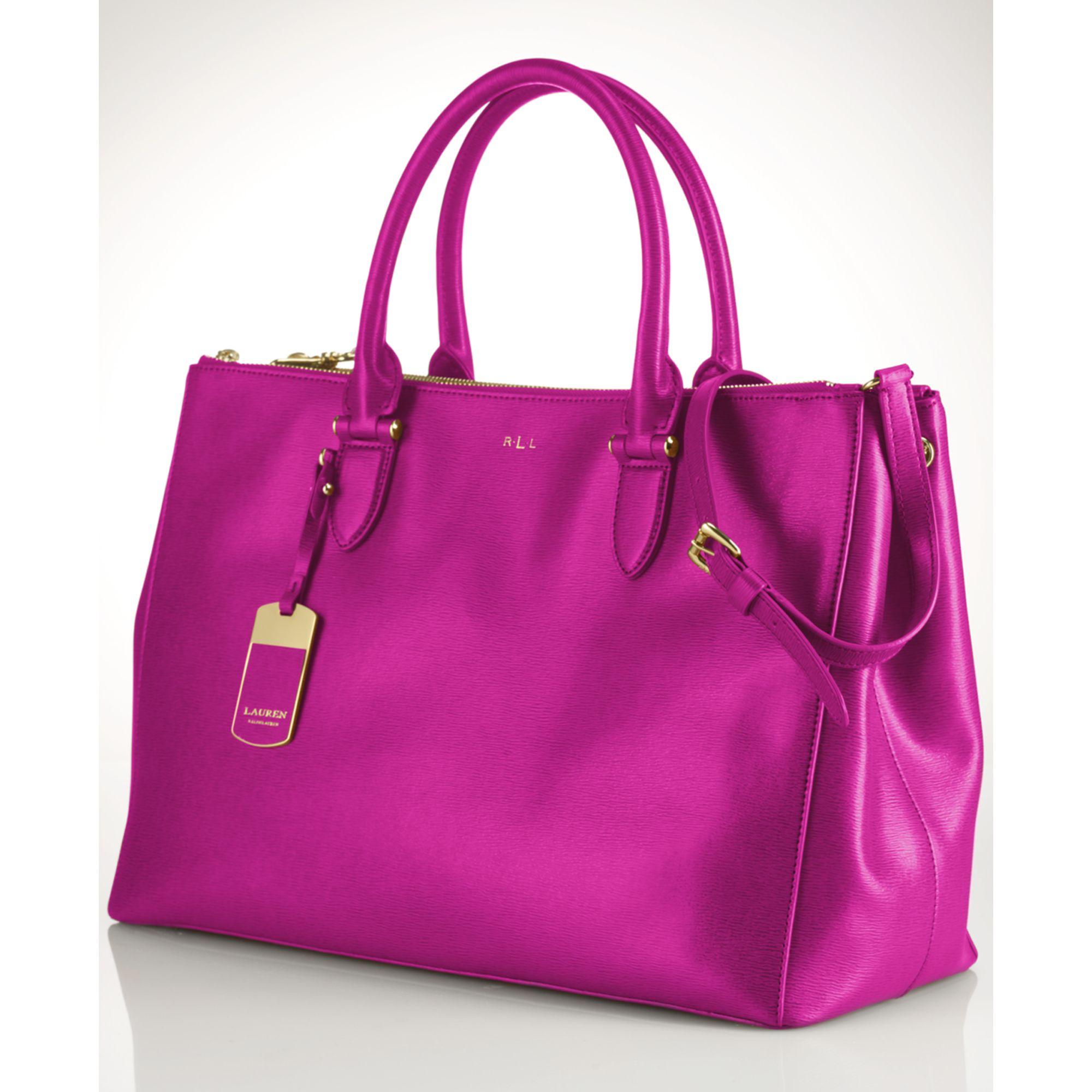 a32cd7ccbdd Lyst - Lauren by Ralph Lauren Newbury Double Zip Satchel in Purple