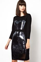 Markus Lupfer Bodice Sequinned Knitted Dress - Lyst