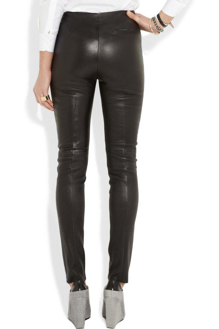 Acne studios Best Leather and Stretchdenim Leggingsstyle Pants in ...