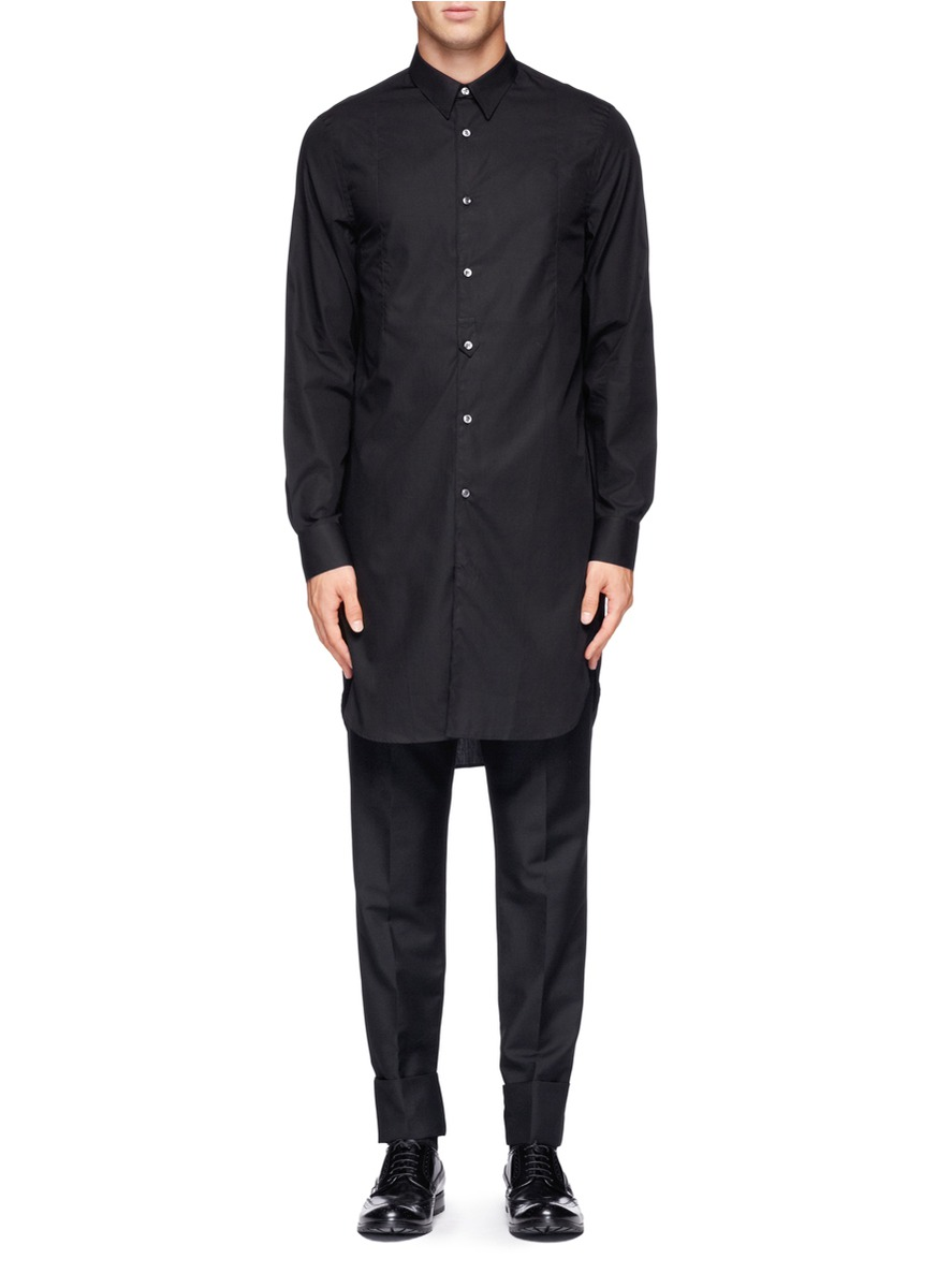 Acne Studios Cotton Extra Long Shirt In Black For Men Lyst