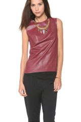 BCBGMAXAZRIA Faux Leather Shell Top - Lyst
