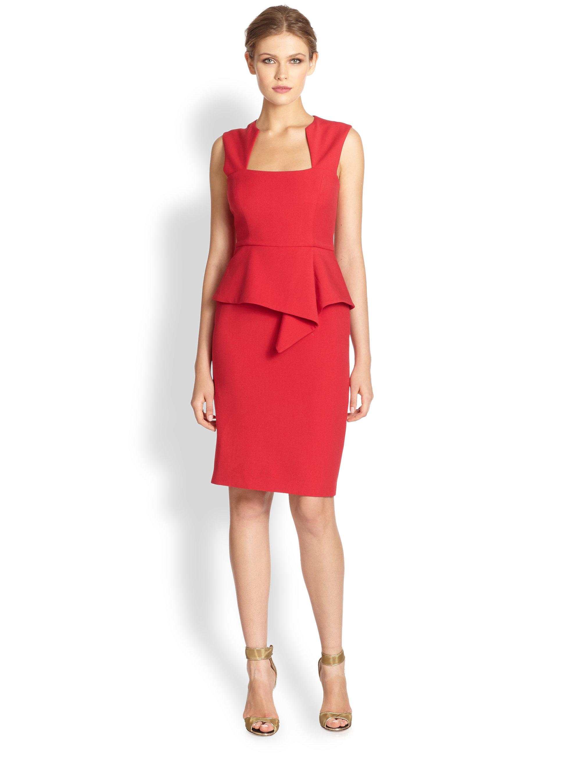Lyst - Bcbgmaxazria Simone Peplum Dress in Red