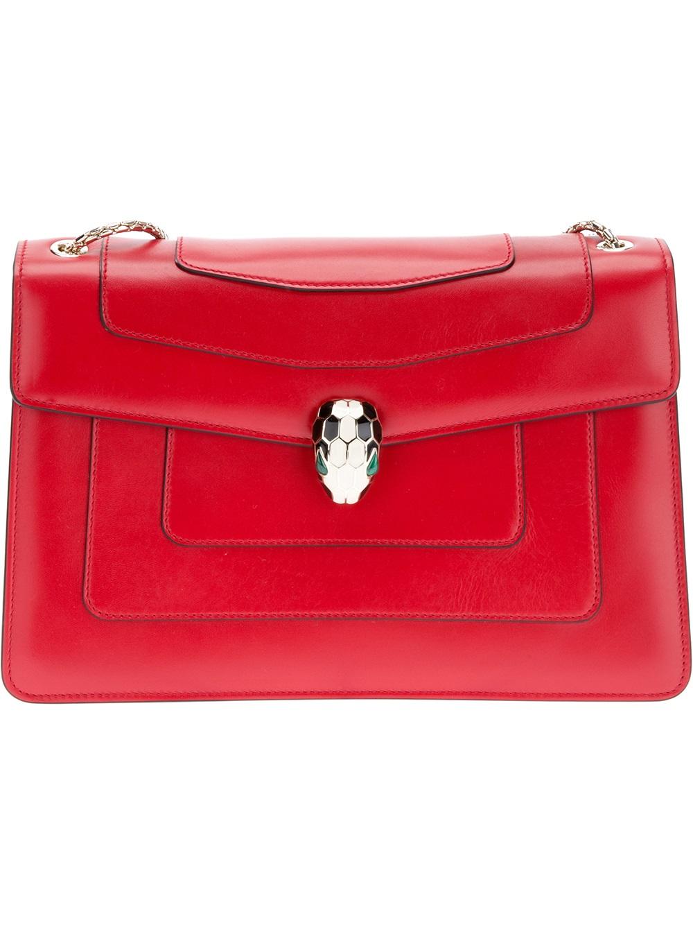 ebbb0cd98066 Lyst - BVLGARI Serpenti Leather Shoulder Bag in Red