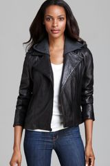 DKNY Leather Jacket Moto Knit Hood - Lyst