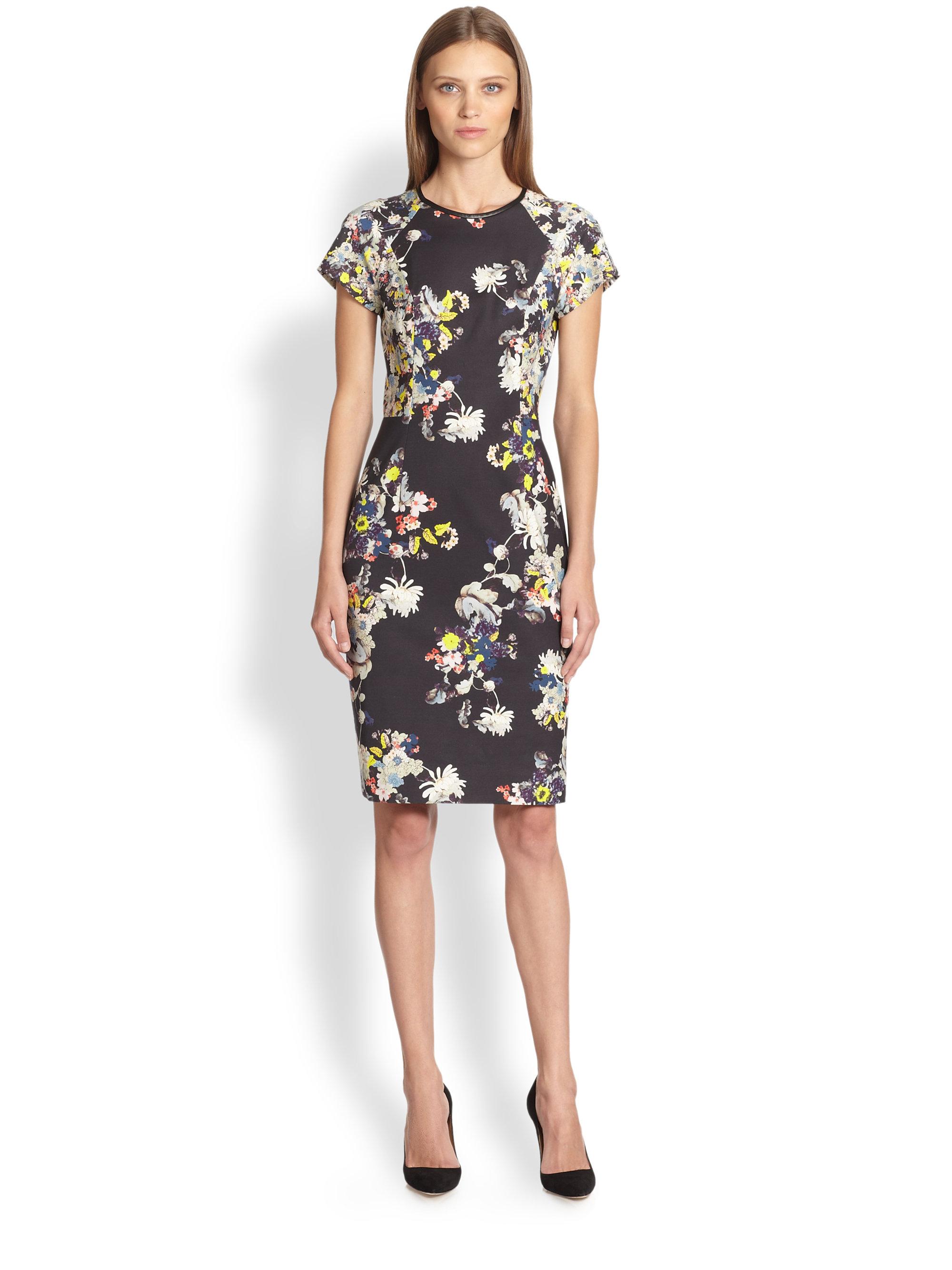 erdem leathertrimmed floral marta dress in black lyst