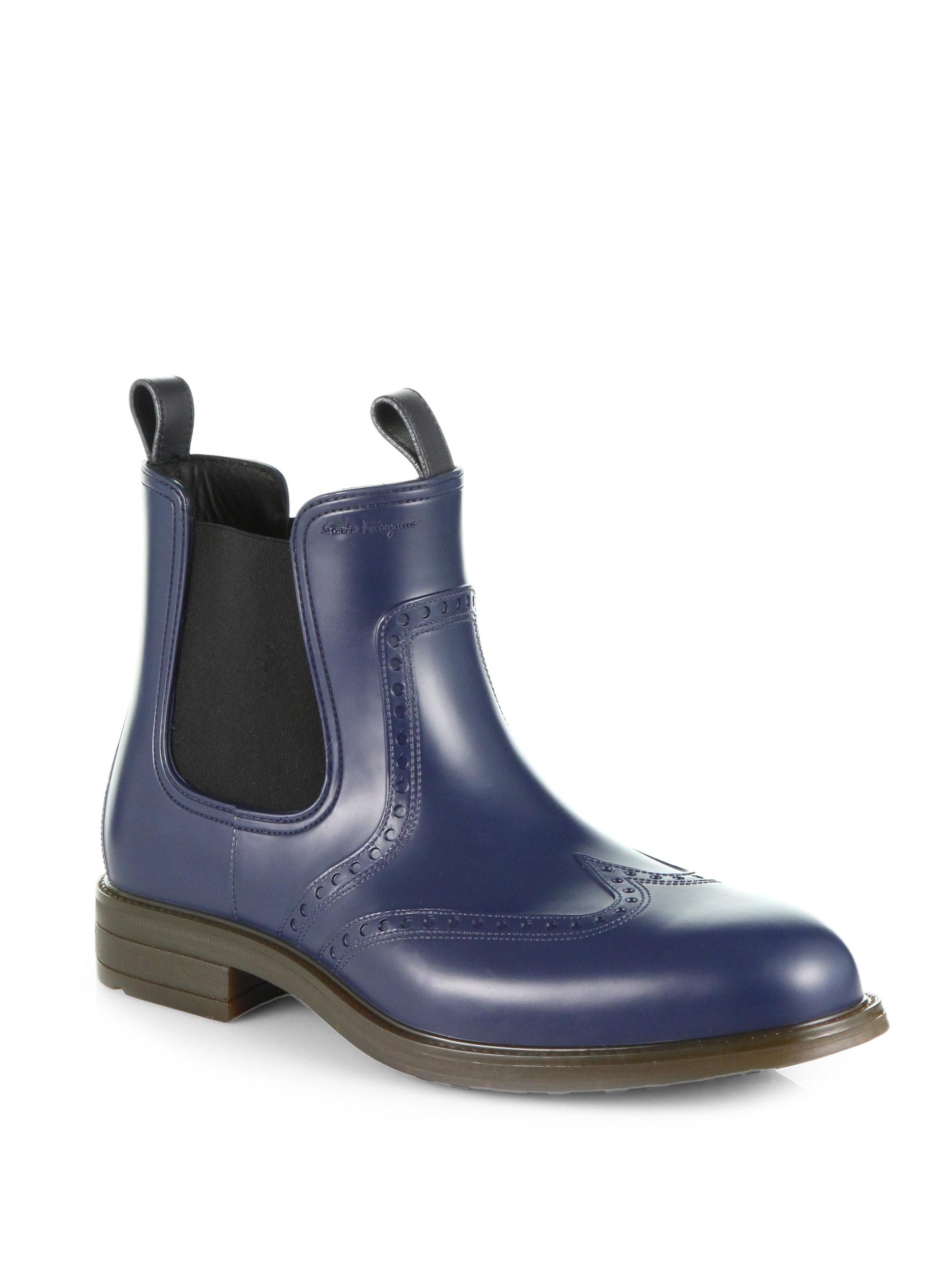 Lyst Ferragamo Boston Brogue Chelsea Rain Boots In Blue